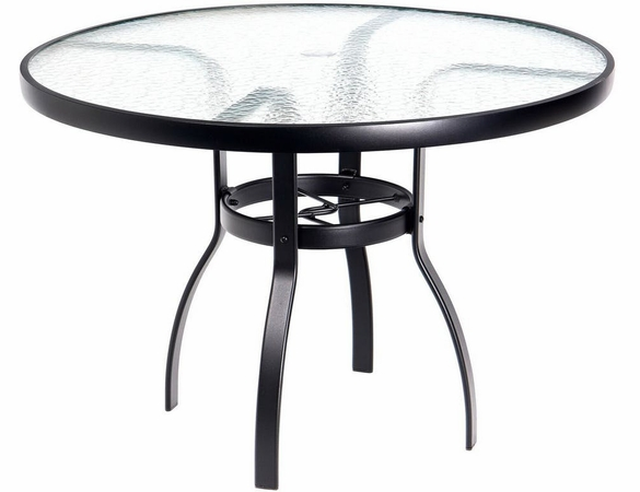 Woodard Aluminum Deluxe Acrylic Top Round Umbrella Dining Table - Multiple Sizes