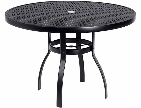 Woodard Aluminum Deluxe Lattice Top Round Umbrella Dining Table - Multiple Sizes