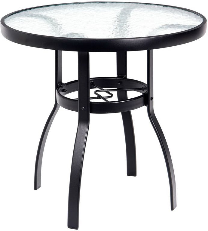 Woodard Aluminum Round Obscure Glass Top Bistro Table
