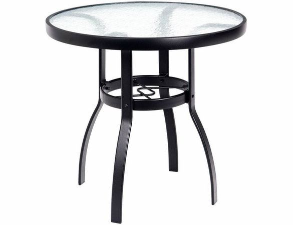 """Woodard Aluminum Deluxe 30"""" Round Obscure Glass Top Bistro Table"""