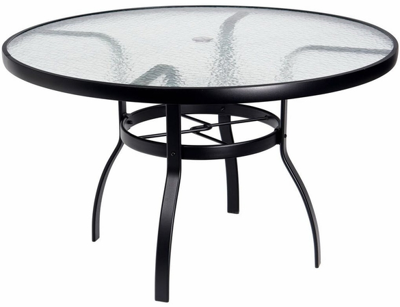Woodard Aluminum Deluxe Obscure Glass Top Round Umbrella Dining Table - Multiple Sizes