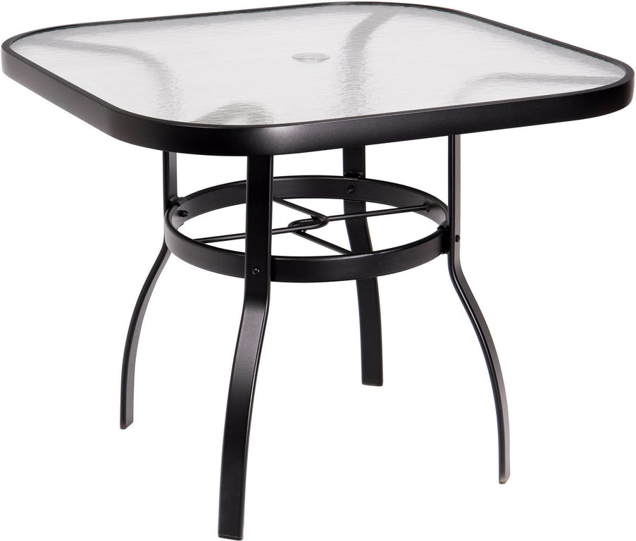 Woodard Aluminum Deluxe Obscure Gl Top Square Umbrella Dining Table Multiple Sizes
