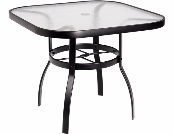 Woodard Aluminum Deluxe Obscure Glass Top Square Umbrella Dining Table - Multiple Sizes