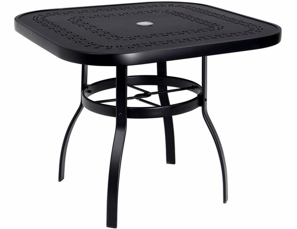 "Woodard Aluminum Deluxe Trellis Top 36"" Square Umbrella Dining Table"