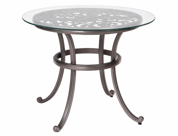 """Woodard Aluminum New Orleans 36"""" Round Glass Top Bistro Table"""