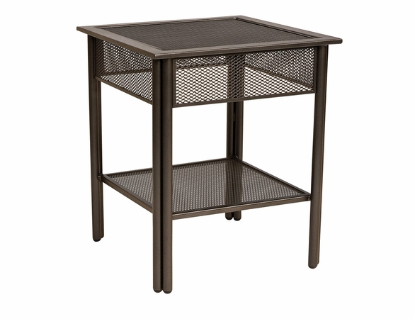 Woodard Wrought Iron Jax Mesh Top Square End Table