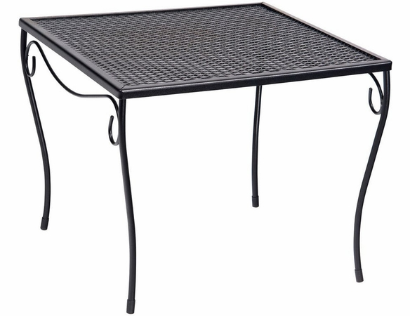 Woodard Wrought Iron Large Square Mesh-Top Side Table