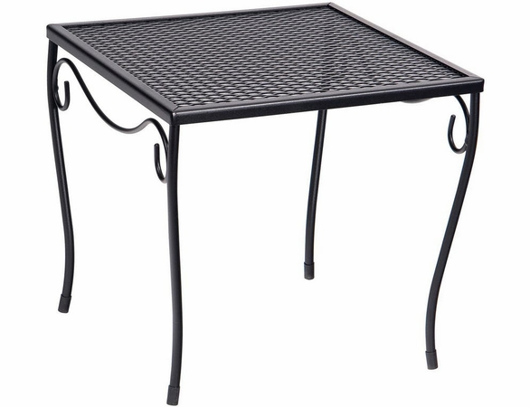 Woodard Wrought Iron Medium Square Mesh Top Side Table