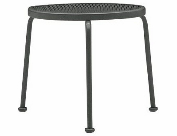 Woodard Wrought Iron Round Mesh Top Side Table