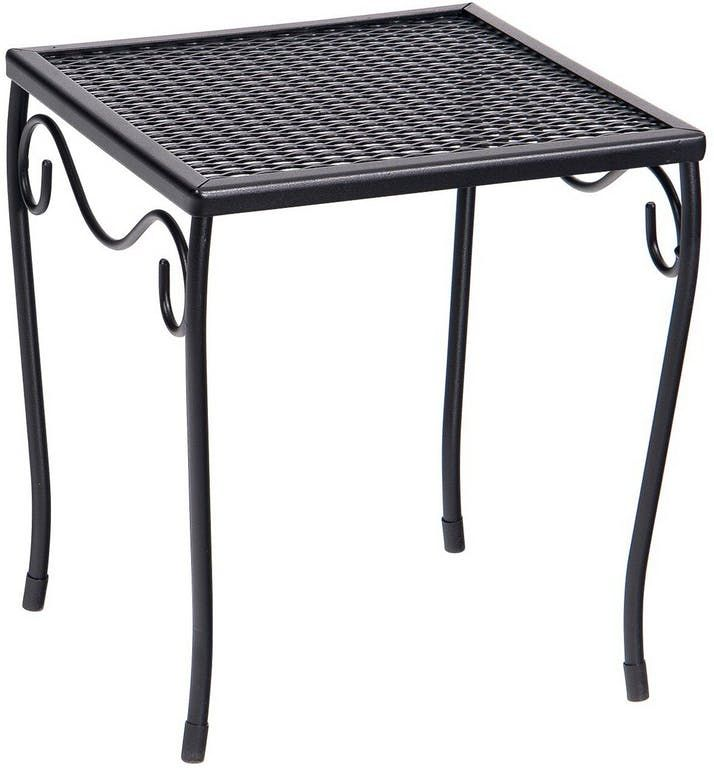 Woodard Wrought Iron Small Square Mesh Top Side Table