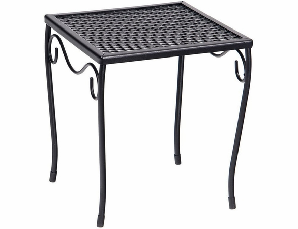 Woodard Wrought Iron Small Square Mesh-Top Side Table