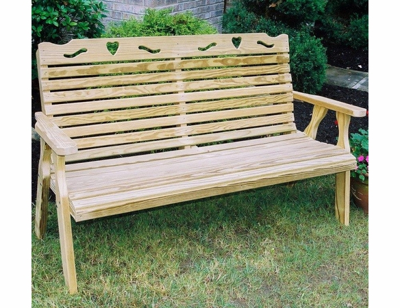 Yellow Pine Outdoor Bench with Heart Cutout