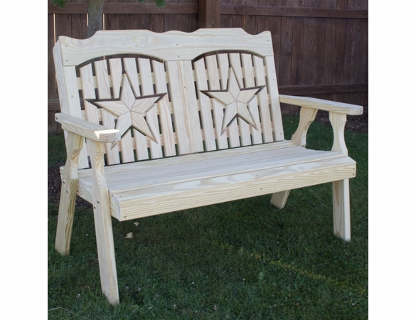 Yellow Pine Outdoor Bench With Star Cutout