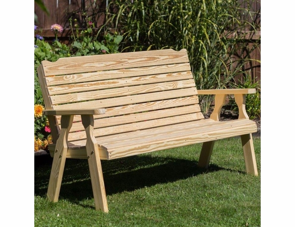 Yellow Pine Outdoor Crossback Bench