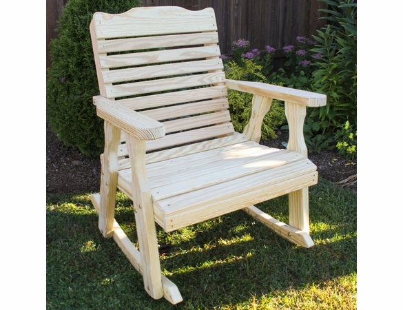 Yellow Pine Outdoor Crossback Rocking Chair