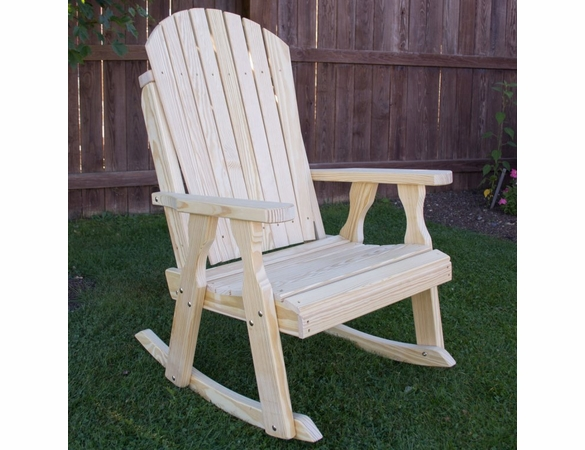 Yellow Pine Outdoor Curveback Rocking Chair