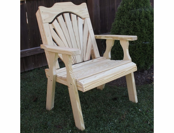 Yellow Pine Outdoor Fanback Chair