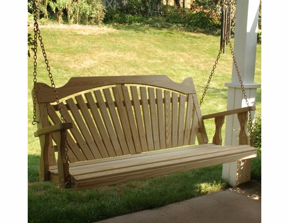 Yellow Pine Outdoor Fanback Porch Swing