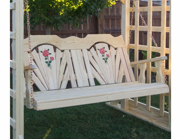 Yellow Pine Outdoor Fanback Porch Swing with Rose Design