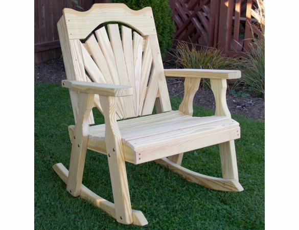 Yellow Pine Outdoor Fanback Rocking Chair
