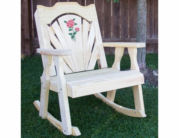 Yellow Pine Outdoor Fanback Rocking Chair with Rose Design