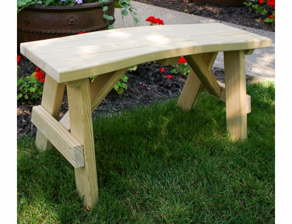 Yellow Pine Outdoor High Back Curved Bench
