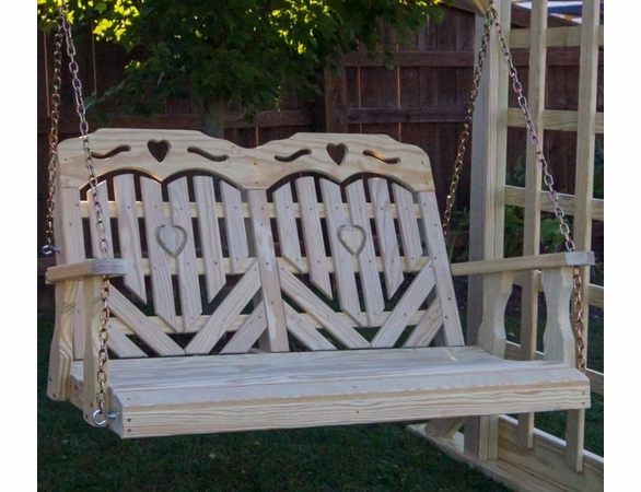 Yellow Pine Outdoor Porch Swing With Heart Design & Cutout