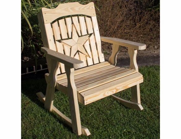 Yellow Pine Outdoor Rocking Chair with Star Cutout