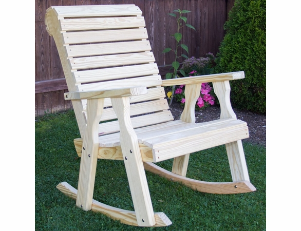 Yellow Pine Outdoor Rollback Rocking Chair