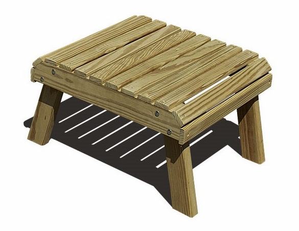 Yellow Pine Outdoor Square Footstool
