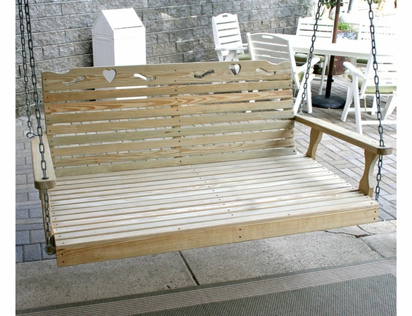 Yellow Pine Outdoor Swingbed with Heart Cutout