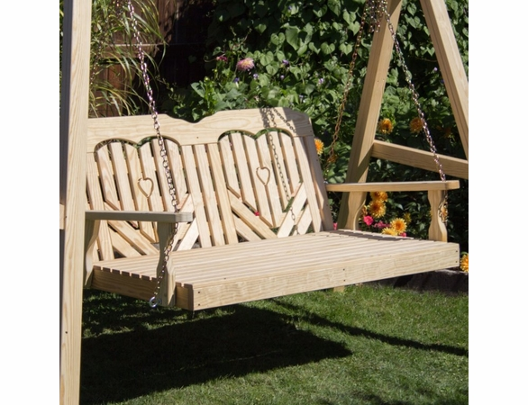 Yellow Pine Outdoor Swingbed with Heart Design
