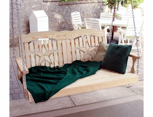 Yellow Pine Outdoor Swingbed with Star Cutout