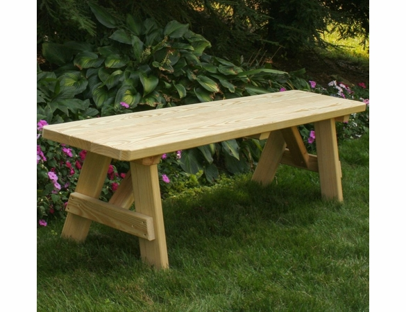 Yellow Pine Outdoor Traditional Backless Bench