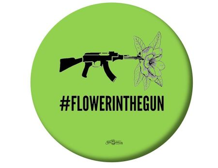 BAWN -  Flower in the Gun Button -Available in 3 Sizes