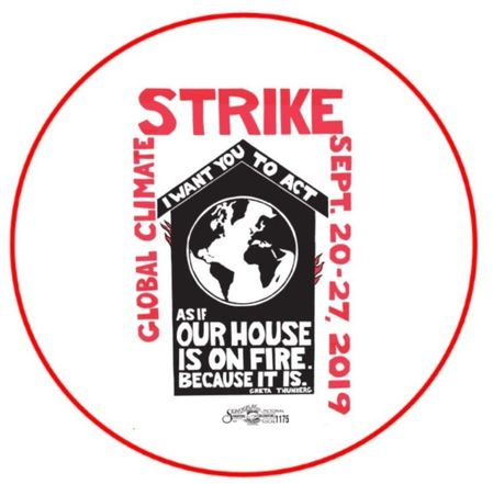 """Climate Strike Our House Is On Fire 2.25"""" Button"""
