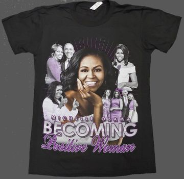 "Michelle Obama ""Becoming"" Positive Women T-Shirt Black New! Michelle Obama ""Becoming"" Positive Women T-Shirt Black"