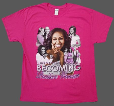 """Michelle Obama """"Becoming"""" Positive Women T-Shirts Pink"""