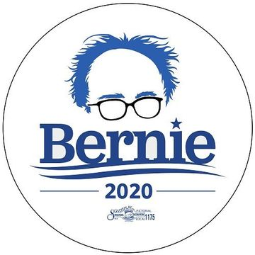 Bernie Sanders 2020 Hair & Glasses Button