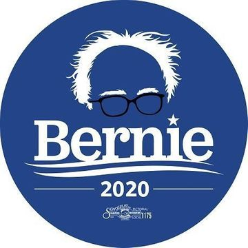 Bernie Sanders 2020 Hair & Glasses Blue Button