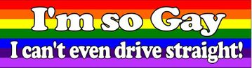 """I'm so gay I can't even drive straight!"" Bumper Sticker"