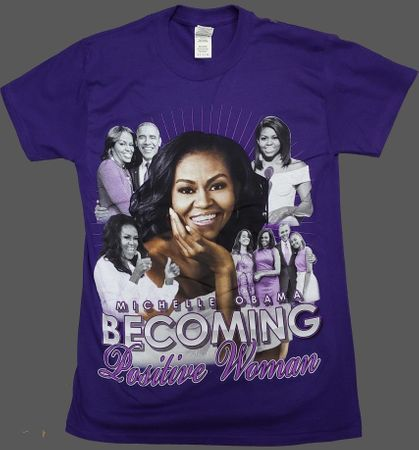 """Michelle Obama """"Becoming"""" Positive Women T-Shirt Purple"""