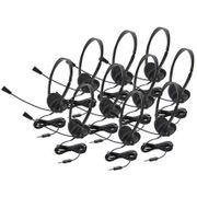 Califone Lightweight Personal Multimedia Stereo Headset with To Go Plug - 10 Pack - without Case