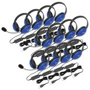 Califone Listening First Stereo Headset - Blue - USB Plug - 12 Pack