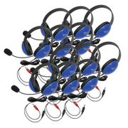 Califone Listening First Stereo Headsets - Blue - Dual 3.5mm Plugs - 12 Pack