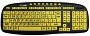 EZsee Large Print, Low Vision, Ergonomic  Multi-Media Keyboard w/ Low-Profile Yellow Keys - Wired