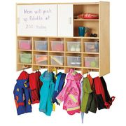 Jonti-Craft® 10 Section Wall Mount Coat Locker with Storage – with Clear Cubbie-Trays