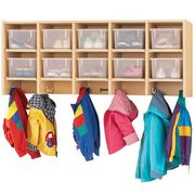 Jonti-Craft MapleWave® 10 Section Wall Mount Coat Locker - with Clear Cubbie-Trays