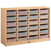 "Jonti-Craft MapleWave® 24 Paper-Tray Mobile Storage - with Clear Paper-Trays 48"" x 15"" x 35 1/2"""