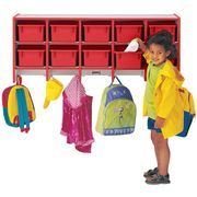 Jonti-Craft Rainbow Accents® 10 Section Wall Mount Coat Locker - without Trays